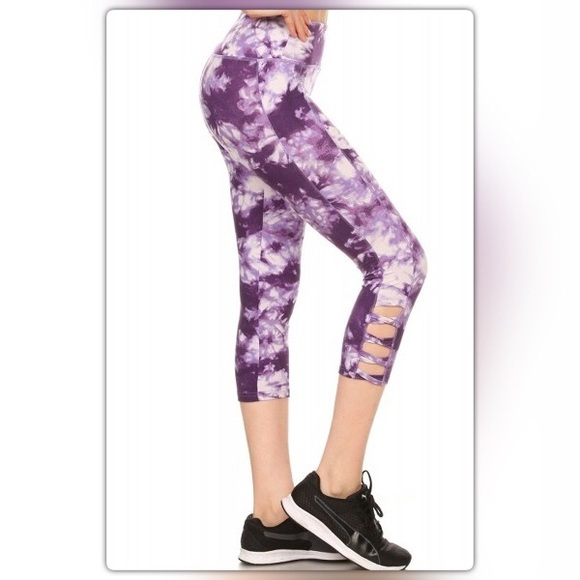 ec3caecc00bcdd The NEW Boutique Pants | Purple And White Tie Dye Cropped Athletic ...